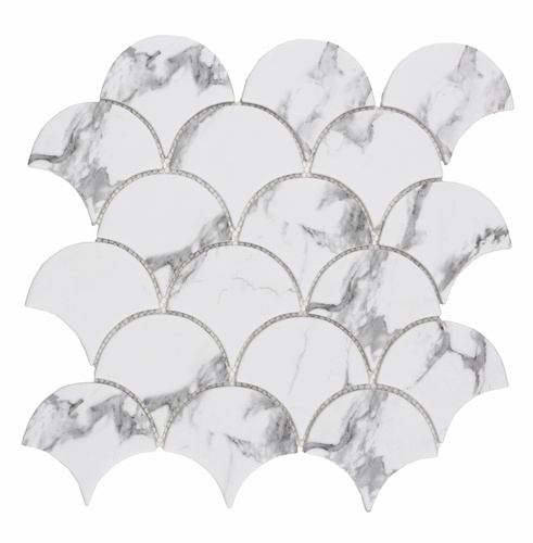 White Large Fish Scale Fan Shaped Mosaic Tile at Stittsville Flooring Inc.